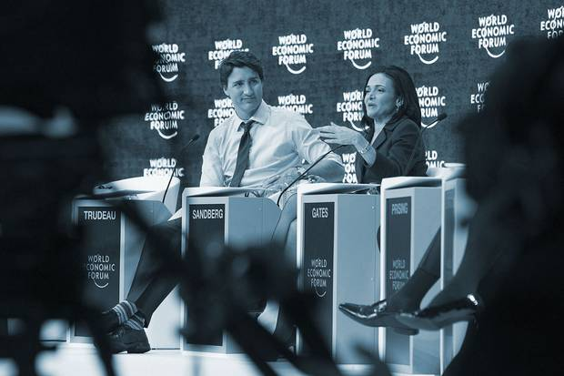 Jan. 22, 2016: Prime Minister Justin Trudeau sits beside Sheryl Sandberg, chief operating officer of Facebook, at a session on gender parity, in Davos, Switzerland. The social-media giant is in several stratetic partnerships in Canada, launching a 'Canadian Election Integrity' project for politicians and a partnership with Ryerson University's Digital Media Zone.