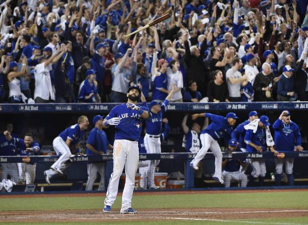 Jose Bautista's home run and bat flip during Game 5 of the American League Division Series against the Texas Rangers was a highlight of Toronto's postseason run.