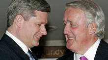 Prime Minister Stephen Harper meets with former prime minister Brian Mulroney in Ottawa on April 20, 2006. (JONATHAN HAYWARD)