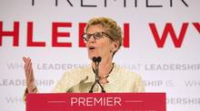 Ontario Premier Kathleen Wynne speaks during a campaign in Toronto on May 31. (Nathan Denette/Canadian Press)