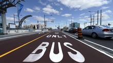 A dedicated lane along bustling Highway 7 is aimed at speeding up travel times. (Fred Lum/The Globe and Mail)
