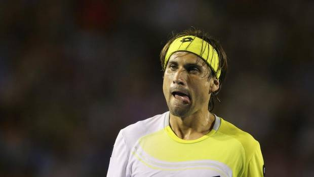 David Ferrer of Spain reacts during his men's singles semi-final match against Novak Djokovic of Serbia at the Australian Open tennis tournament in Melbourne, January 24, 2013. (POOL/REUTERS)