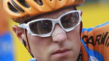 Ryder Hesjedal of Canada waits to take the start of the eighth stage of the Tour de France cycling race over 189 kilometers (117.4 miles) with start in Station des Rousses, and finish in Morzine-Avoriaz, France, Sunday, July 11, 2010. (AP Photo/Bas Czerwinski) (Bas Czerwinski)