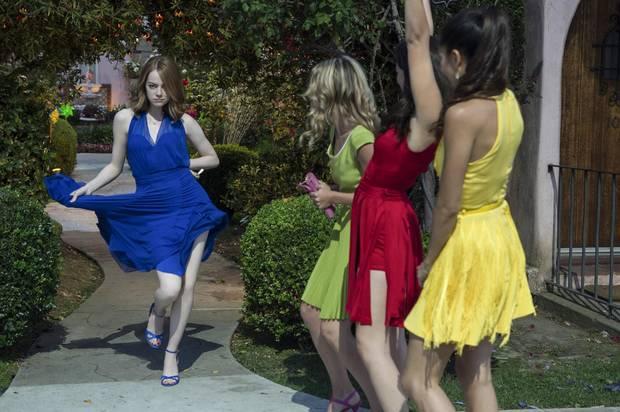 Emma Stone, Jessica Rothe, Callie Hernandez, and Sonoya Mizuno in La La Land.