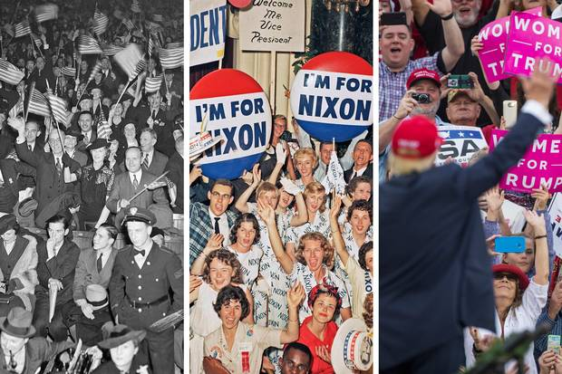 Franklin D. Roosevelt gets a thunderous ovation in New York on Oct. 31, 1936; supporters of Richard Nixon gather in Chicago in July, 1960; Donald Trump waves at a thank-you rally in Mobile, Ala., on Dec. 17, 2016.