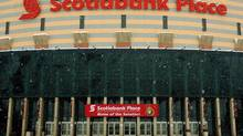 Snow falls outside Scotiabank Place, home of the NHL's Ottawa Senators, in Ottawa on Sunday, Jan. 6, 2013. A tentative deal to end the 113-day NHL lockout was reached early Sunday morning following a marathon 16-hour negotiating session. (FRED CHARTRAND/THE CANADIAN PRESS)