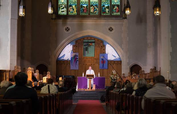 Rev. Dan Chambers delivers a sermon on the Oscar nominated film The Post at St. Wesley's United church Vancouver on Feb. 18.