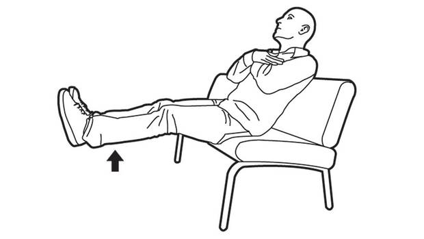 Start by bringing your bum close to the edge of the sofa. Keep your back straight and lean roughly 10 degrees backward. Cross your arms over your chest and lift both legs up to hip height. (Carrie Cockburn/The Globe and Mail)