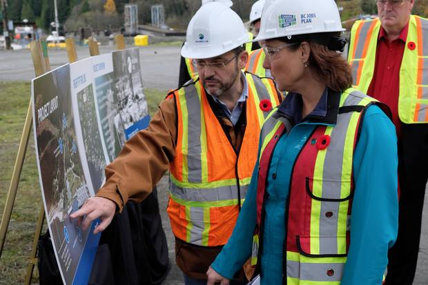 Christy Clark with Byng Giraud at a Woodfibre LNG project announcement.