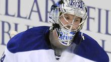 Toronto Maple Leafs goalie James Reimer reacts after Buffalo Sabres winger Drew Stafford's goal during the first period of an NHL hockey game in Buffalo, N.Y. on Saturday, Feb. 5, 2011. (AP Photo/Don Heupel) (Don Heupel)