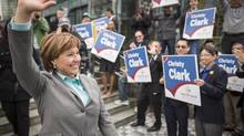 BC Liberal Leader Christy Clark emerges after unveiling the party's platform in Vancouver on April 15, 2013. (John Lehmann/The Globe and Mail)