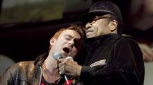 Damon Albarn of Gorillaz sings with Bobby Womack during their show at the Air Canada Centre in Toronto on Thursday. (JENNIFER ROBERTS/The Globe and Mail)