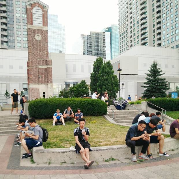There were three Pokestops all within a small area, making Toronto's Princess park an ideal place for players to sit and catch pokemon.