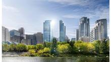 Cadillac Fairview's mixed-use project, City Centre project, the tallest tower from the left in this rendering, will be located next to the Bow River parkway system and will be connected to the heart of Calgary's business community. (Cadillac Fairview)