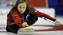Ontario skip Rachel Homan delivers a stone as she plays Team Canada at the Scotties Tournament of Hearts curling championship in Charlottetown, Prince Edward Island, February 23, 2011. (SHAUN BEST/REUTERS)
