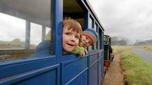 Children ride the Fairborne Railway in Wales. (Bruce Kirkby for The Globe and Mail)