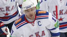 SKA St. Petersburg's IlyaKovalchukskates with team mates during their Kontinental Hockey League (KHL) game against Dynamo in Moscow September 23, 2012. (Reuters)