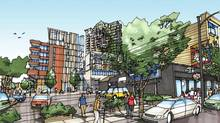 A watercolour rendering of a new development designed by Acton/Ostry Architects for Rize Alliance at Kingsway and Broadway in Vancouver's Mount Pleasant neighbourhood. (Acton/Ostry)