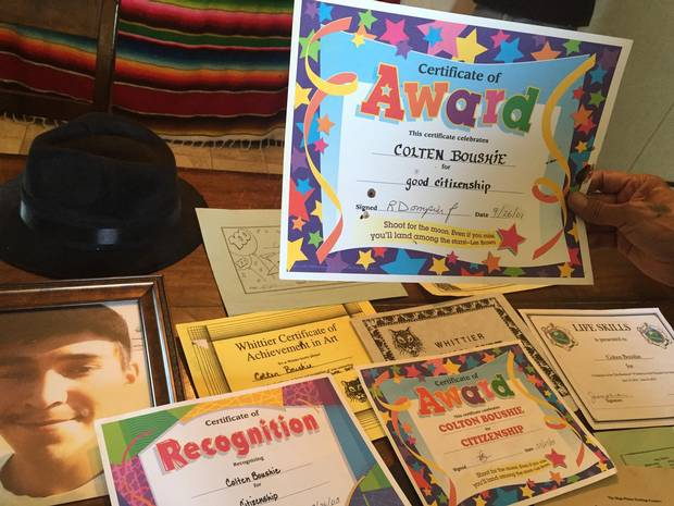 A collection of Colten Boushie's school awards.