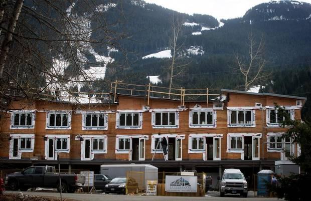 A condo complex under construction in Whistler, B.C., in December, 2014.