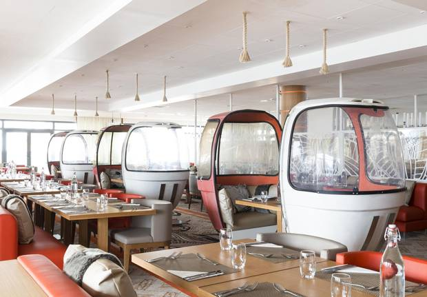 Old gondolas are turned into intimate table seating at Club Med Grand Massif Samoens.