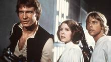 "In this 1977 image provided by 20th Century-Fox Film Corporation, from left, Harrison Ford, Carrie Fisher, and Mark Hamill are shown in a scene from ""Star Wars"" movie released by 20th Century-Fox. (Anonymous/THE ASSOCIATED PRESS)"