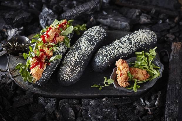 Korean fried-chicken sandwich. (ARTISANAL MATTE BLACK DIPPING BOWL, $5 THROUGH WWW.INDIGO.CA.)