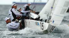 Richard Clarke and Tyler Bjorn of Canada compete in the Star Men's Keelboat race on the Leighton Course on December 12, 2011 in Perth, Australia. (Mark Dadswell/Getty Images)