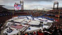 A general view during the playing of the national anthem before the 2012 Winter Classic between the New York Rangers and Philadelphia Flyers at Citizens Bank Park. (Jerry Lai-US PRESSWIRE/Associated Press)