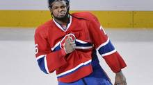 Montreal Canadiens defenseman P.K. Subban (76) reacts after getting first star of the game award in game three of the second round of the 2014 Stanley Cup Playoffs against the Boston Bruins at the Bell Centre. (Eric Bolte/USA Today Sports)