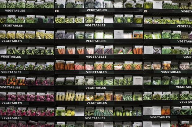 A display of seed packages.