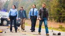 Deputy Linda (Natalie Martinez, from left), Joe (Colin Ford), Sheriff Perkins (Jeff Fahey) and Dale (Barbie) Barbara (Mike Vogel) and residents of Chester's Mill find themselves suddenly and inexplicably sealed off from the rest of the world by a massive transparent dome in Under the Dome. (Michael Tackett/CBS)
