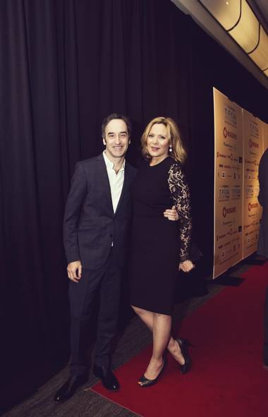 The dynamic duo of the night who made their rounds for the cameras: director Don McKellar and Sex and the City-er Kim Cattrall. (Jenna Marie Wakani for The Globe and Mail)