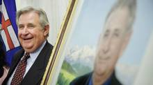 Former premier Ralph Klein, at the unveiling of his official portrait at the Alberta Legislature Rotunda in Edmonton, Alta. on Thursday, August 30, 2007. (John Ulan/The Canadian Press)