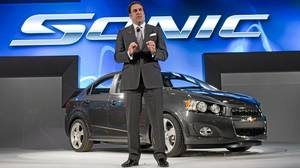 General Motors President North America Mark Reuss introduces the 2012 Chevrolet Sonic four-door sedan small car at the North American International Auto Show on Monday, January 10, 2011 in Detroit, Michigan.