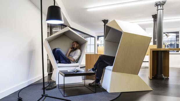 The Quiet Chair mimics the shape of a cocoon.