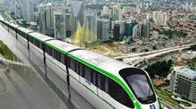 The Bombardier Innovia Monorail 300 system designed for the Brazillian city of SÊo Paulo, is shown in this artist's rendering made available on Monday Sept. 27, 2010. Bombardier Transportation won a contract with two partners to design, supply and install a 24-kilometre monorail system in Sao Paulo, Brazil. THE CANADIAN PRESS/Bombardier (THE CANADIAN PRESS)