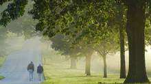 People walking at Valley Forge National Park in a foggy morning at Sunrise. (Aimin Tang/iStockphoto/Aimin Tang/iStockphoto)