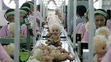 File photo of labourers working at the production line of a toy factory in Panyu, south China's Guangdong province. (ALY SONG/ALY SONG/REUTERS)