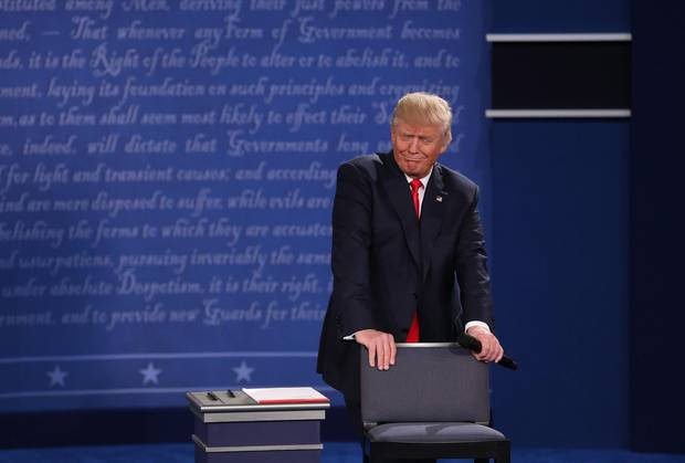 Donald Trump reacts during the second presidential debate at Washington University in St. Louis, Missouri.