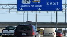 Vehicles travel on the Highway 407 toll road north of Toronto. (Louie Palu/Louie Palu/The Globe and Mail)