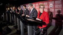 Liberal leadership candidates take to the stage at The Old Mill Inn and Spa in Toronto for the final debate of the Ontario Liberal leadership race. (Tim Fraser For The Globe and Mail)