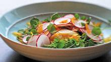 Radish salad with bottarga and poached egg from the cookbook Eat with Your Hands by Zakary Pelaccio. (Michael Schrom)