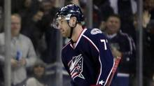 Columbus Blue Jackets' Jeff Carter (7) skates off the ice after scoring his third goal, during the third period of an NHL hockey game against the San Jose Sharks, Tuesday, Feb. 21, 2012, in Columbus, Ohio. The Blue Jackets won 6-3. (TER