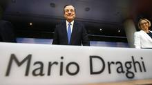 European Central Bank (ECB) President Mario Draghi arrives for the monthly ECB news conference in Frankfurt June 5, 2014. (RALPH ORLOWSKI/REUTERS)