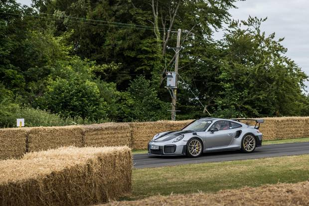 Designed for track work, the GT2 RS is deeply slashed and vented, with the front fenders looking as if they'd been attached by an axe-wielding madman.