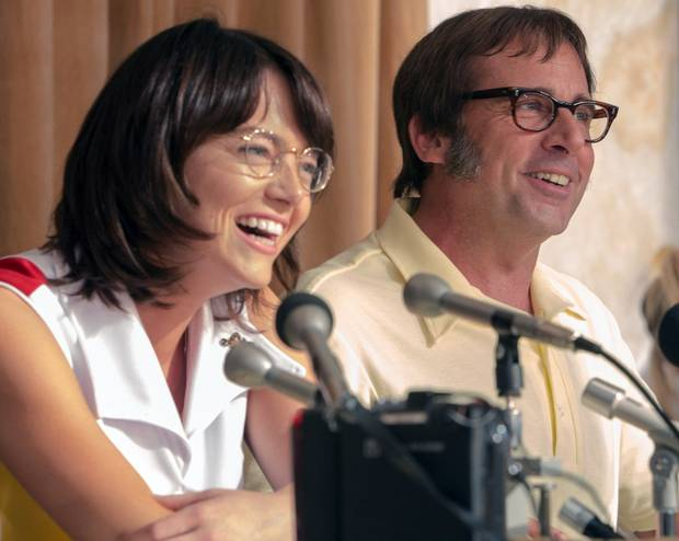 Emma Stone and Steve Carell in Battle of the Sexes.