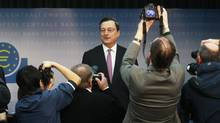 The European Central Bank (ECB) President Mario Draghi arrives for the monthly news conference in Frankfurt March 8, 2012. (ALEX DOMANSKI/REUTERS)