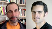 Undated photos of York University professor and filmmaker John Greyson (left) and London, Ont. emergency room doctor Tarek Loubani. Mr. Greyson and Mr. Loubani were arrested Friday, Aug. 16, 2013 in Cairo, according to reports. (facebook.com and emlondon.ca)