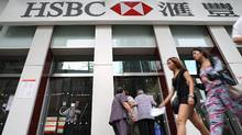 Customers enter a branch of HSBC in Hong Kong. (ANTONY DICKSON/AFP/Getty Images/ANTONY DICKSON/AFP/Getty Images)